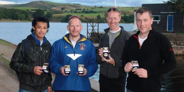 Masters Quad at North of England Sprint championships, Hollingworth Lake Rowing Club, Lancashire 2013